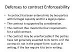 defenses to contract enforceability
