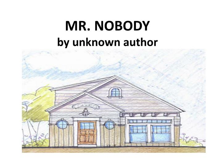mr nobody by unknown author n.