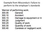 example from misconduct failure to perform to the employer s standards