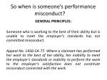 so when is someone s performance misconduct