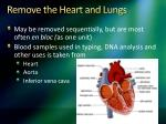 remove the heart and lungs