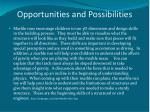 opportunities and possibilities