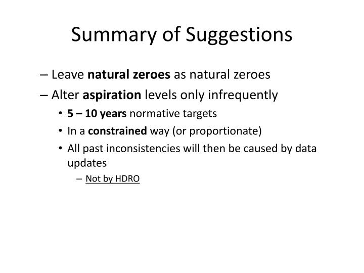 Summary of Suggestions