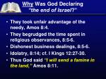 why was god declaring the end of israel
