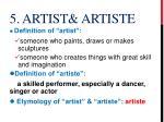 5 artist artiste