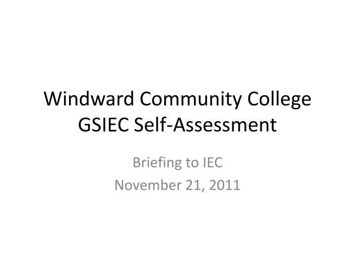 windward community college gsiec self assessment n.