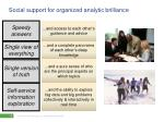 social support for organized analytic brilliance