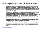 policy perspectives challenges