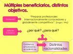 m ltiples beneficiarios distintos objetivos