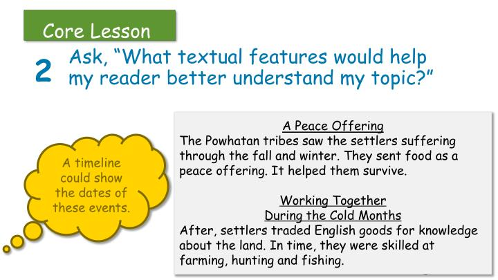 "Ask, ""What textual features would help my reader better understand my topic?"""