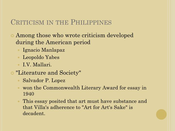 literature and society essay by salvador p lopez Literature and society salvador p lopez commentary creative writers  in commentary to lopez' essay,  documents similar to literature and society salvador lopez.