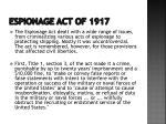 espionage act of 19171