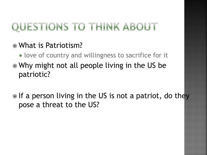 patriotism love of the country essay An essay on patriotic love and self-sacrifice nicholas xenos university of massachusetts it is commonly recognized that the fundamental meaning of patriotism is love of the patria.