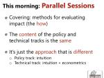this morning parallel sessions