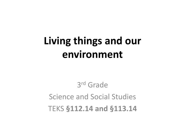 living things and our environment n.