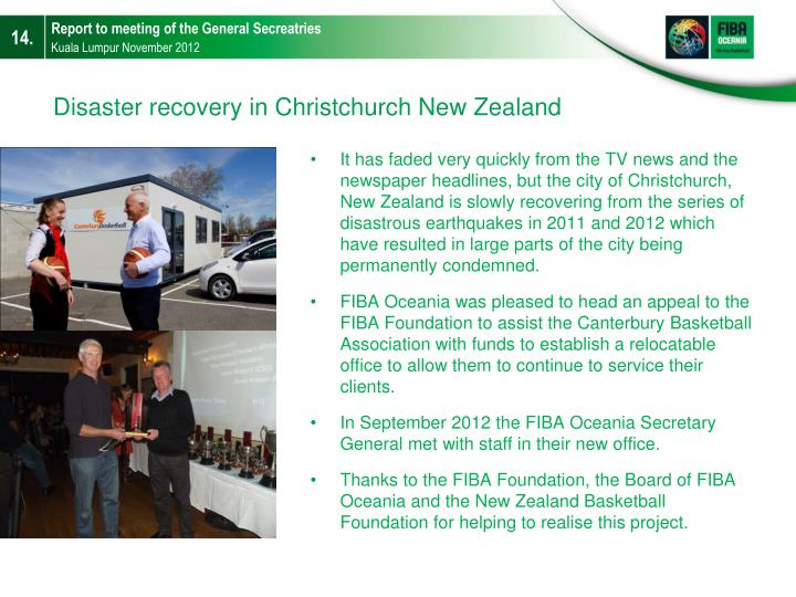 Disaster recovery in Christchurch New Zealand