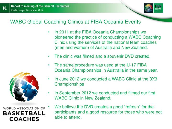 WABC Global Coaching Clinics at FIBA Oceania Events