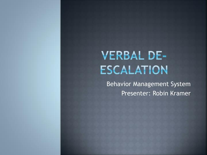 verbal de escalation n.