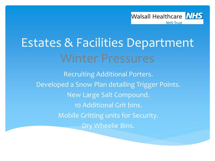estates facilities department winter pressures n.