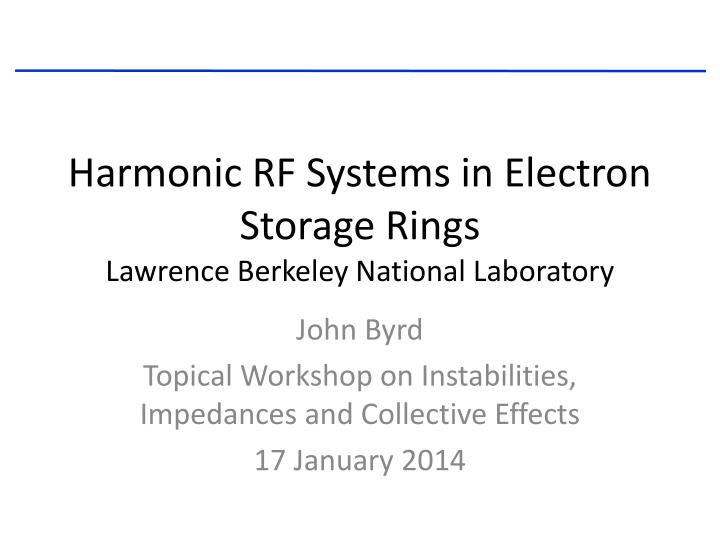 harmonic rf systems in electron storage rings lawrence berkeley national laboratory n.