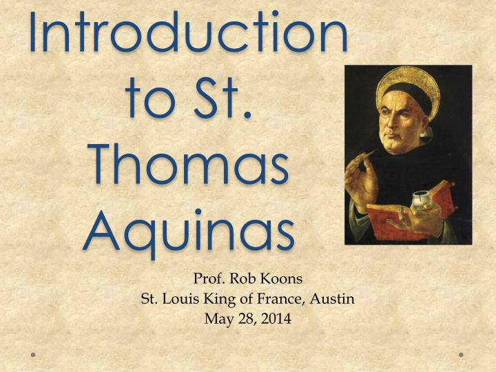an introduction to st thomas aquinas n.