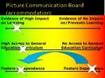 picture communication board accommodation