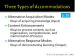 three types of accommodations