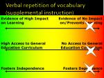 verbal repetition of vocabulary supplemental instruction