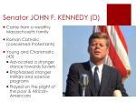 senator john f kennedy d