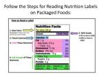 follow the steps for reading nutrition labels on packaged foods