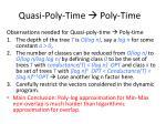 quasi poly time poly time