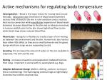 active mechanisms for regulating body temperature