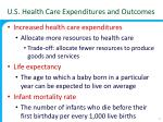 u s health care expenditures and outcomes1