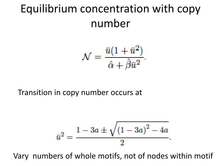 Equilibrium concentration with copy number