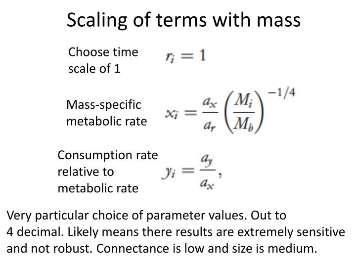 Scaling of terms with mass
