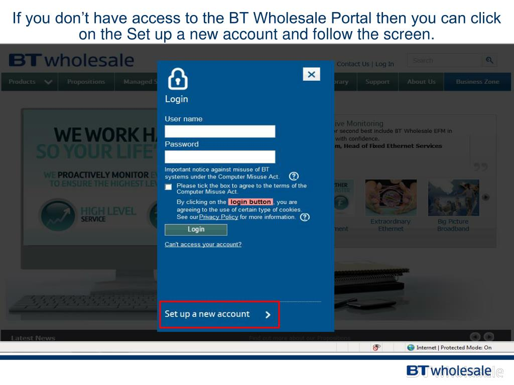 PPT - BT Wholesale Broadband Escalations Portal How to