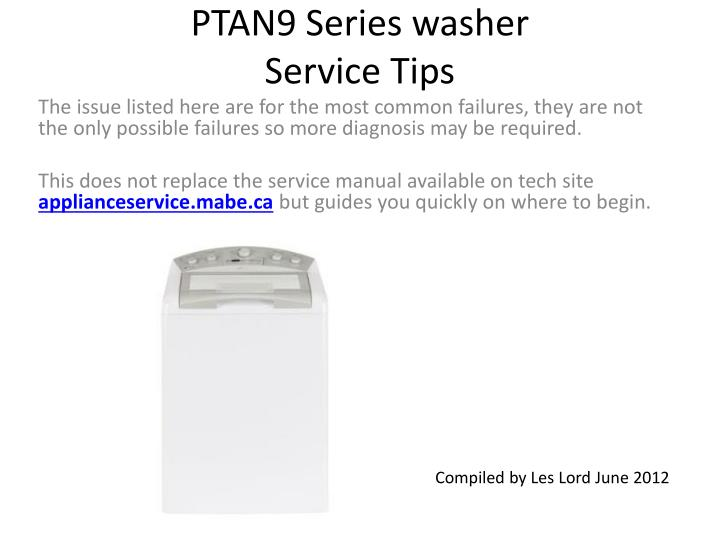 ptan9 series washer service tips n.