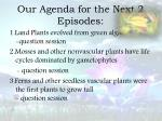 our agenda for the next 2 episodes