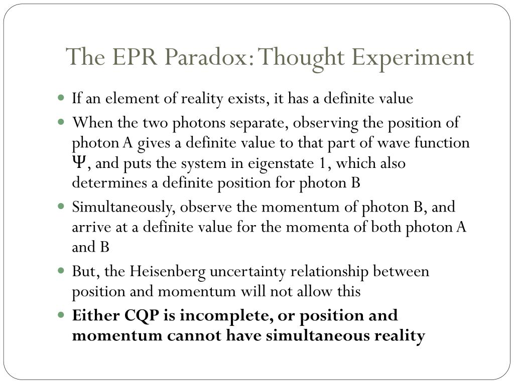 PPT - The EPR Paper and Bell's Theorem PowerPoint