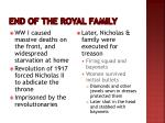 end of the royal family