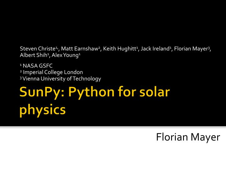sunpy python for solar physics n.