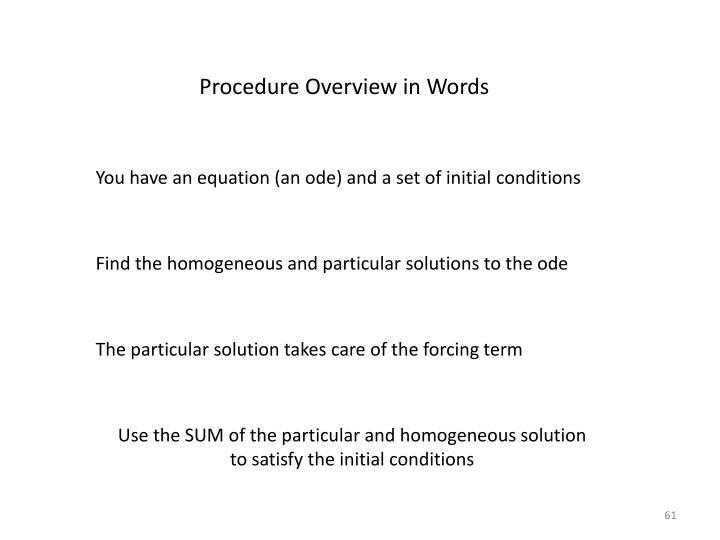 Procedure Overview in Words
