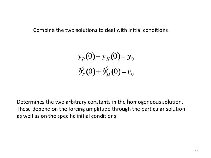 Combine the two solutions to deal with initial conditions
