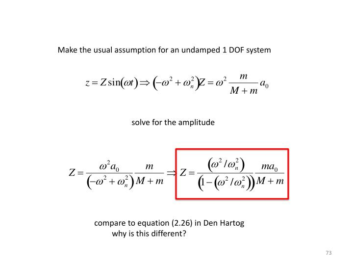 Make the usual assumption for an undamped 1 DOF system
