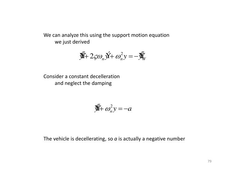 We can analyze this using the support motion equation
