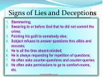 signs of lies and deceptions