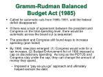 gramm rudman balanced budget act 1985