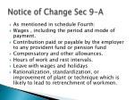 notice of change sec 9 a