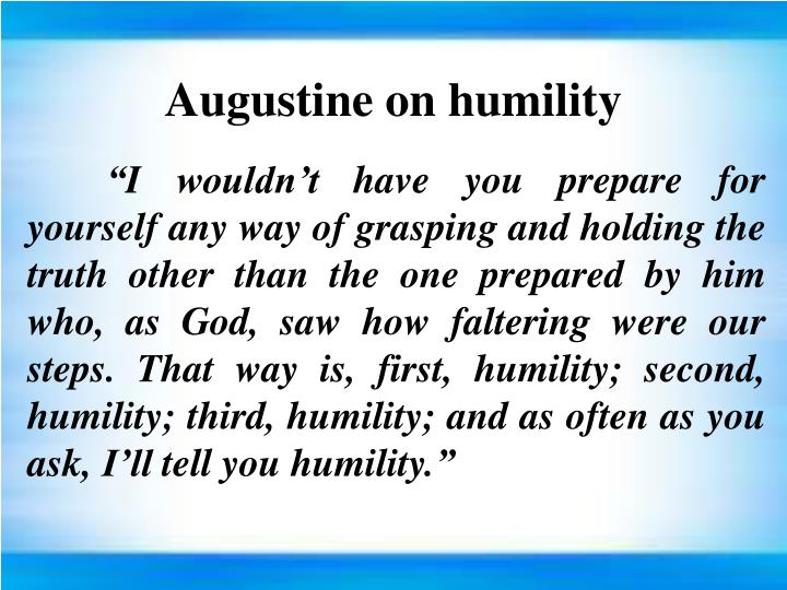 Augustine on humility
