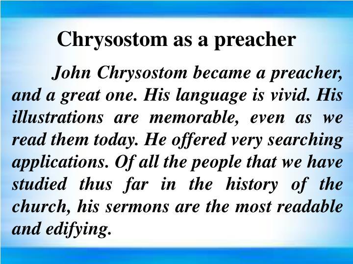 Chrysostom as a preacher